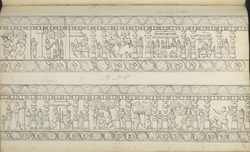 Narrative sculpture on the north side of the Amritesvara Temple at Amritpur, 1805. Second panel of the Krishna Lila frieze